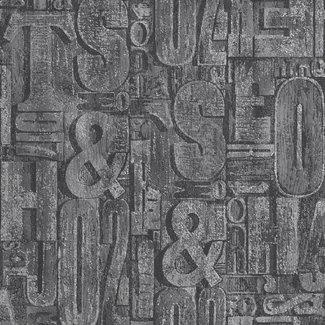 Dutch Wallcoverings Behang letters grijs - 1219-7