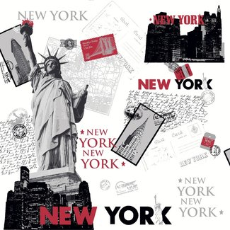 Dutch Wallcoverings Behang New York wit/rood - E767-10