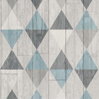 Dutch Wallcoverings Collage hout/ruit grijs/blauwgroen - 42505-10