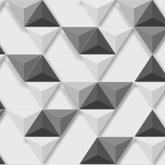 Dutch Wallcoverings Hexagone 3D driehoek wit/zwart - L575-09