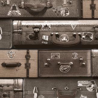 Dutch Wallcoverings Schuimvinyl koffers bruin - 6868-2