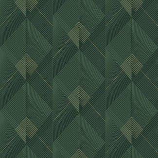 Dutch Wallcoverings Galactik dessin groen/goud - L967-04