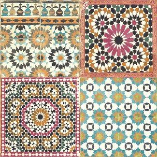 Dutch Wallcoverings Botanical tegels roze/blauw/oranje - BA2504