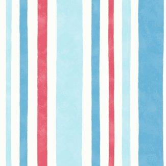 Dutch Wallcoverings Carousel streep blauw/rood/wit - 21141