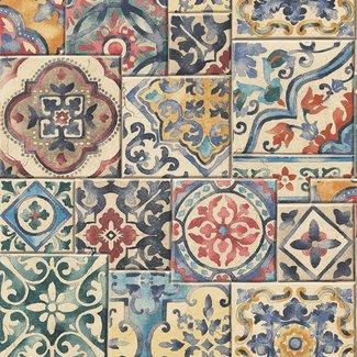 Dutch Wallcoverings Trilogy Marrakesh Tiles blauw/rood/groen - 22301