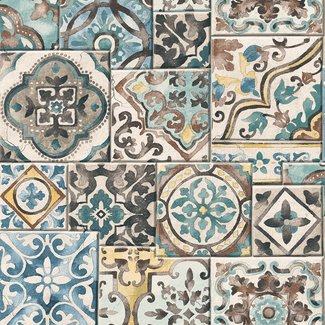 Dutch Wallcoverings Trilogy Marrakesh tiles  teal  - 22315