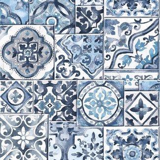 Dutch Wallcoverings Reclaimed Marrakesh Tiles blauw/wit - 22316