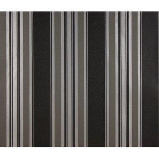 Dutch Wallcoverings Schuimvinyl streep zwart/zilver - 6809-7