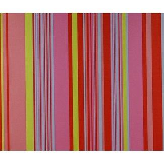 Dutch Wallcoverings Behang streep rood/groen/blauw - 1194-4