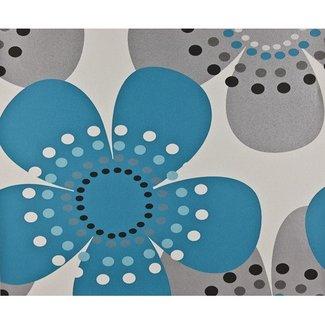 Dutch Wallcoverings Behang retro bloem turquoise/zilver - 1139-5