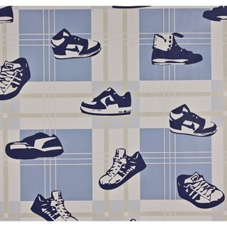 Dutch Wallcoverings Papier shoes blauw/beige - 1206-5