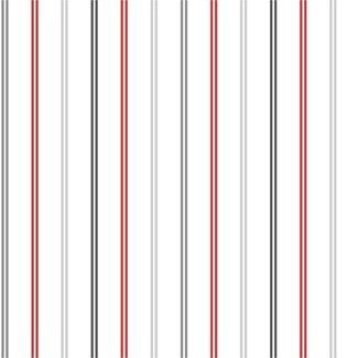 Dutch Wallcoverings Hoopla strepen wit/rood/zilver - 30742