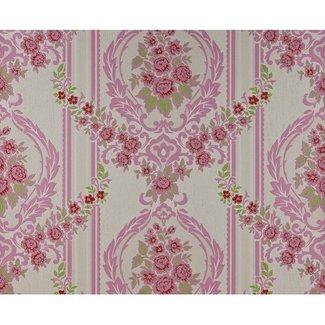 Dutch Wallcoverings Schuimvinyl ornament roze/wit - 6850-6
