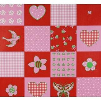 Dutch Wallcoverings Papier Patchwork rood/roze/groen - 1203-4