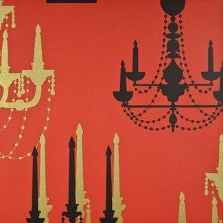Dutch Wallcoverings Be Yourself kandelaar rood/zwart - 16029