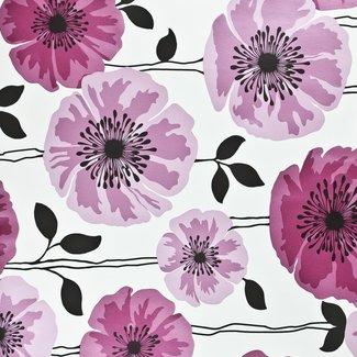 Dutch Wallcoverings Behang bloem roze/wit - 14864