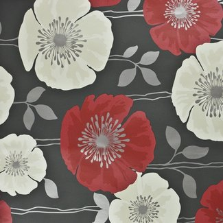 Dutch Wallcoverings Behang bloem bruin/rood - 14868