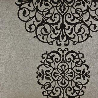 Dutch Wallcoverings Premium dessin zilver/zwart - 58473
