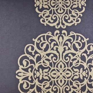 Dutch Wallcoverings Premium dessin blauw/goud - 58474