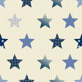 Dutch Wallcoverings Papier sterren beige/blauw - 1222-5