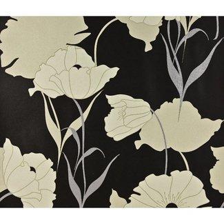 Dutch Wallcoverings Behang bloem beige/zwart - 71008-06
