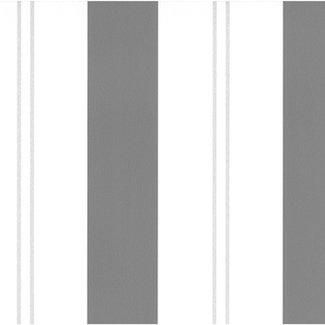 Dutch Wallcoverings Papier streep wit/zwart/zilver - 05617-10