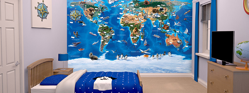 Wereld- & landkaart behang