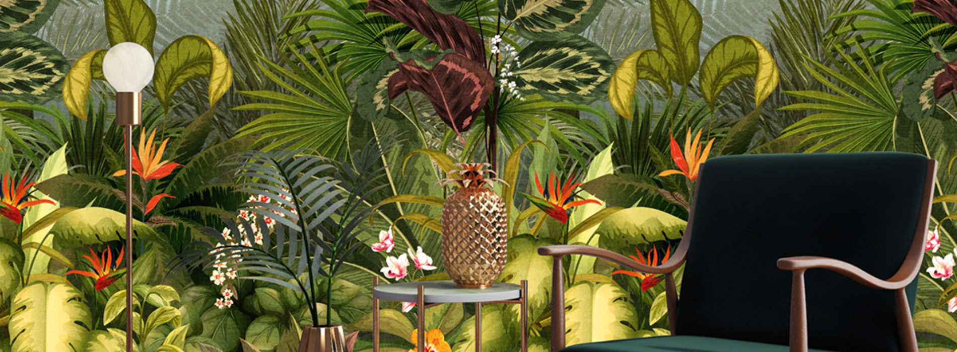 Jungle behang met tropische bomen, bladeren, vogels en andere dieren