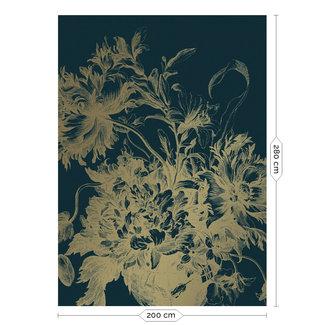 KEK Amsterdam Wallmural Gold Engraved Flowers blue - div.afm.