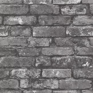 Dutch Wallcoverings Trilogy Brickwork black & white  - 21260