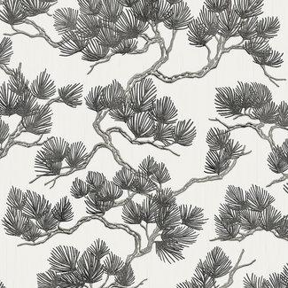 Dutch Wallcoverings Wall Fabric pine tree white/black - WF121014