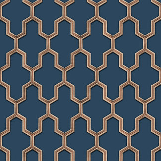 Dutch Wallcoverings Wall Fabric geometric blue - WF121027