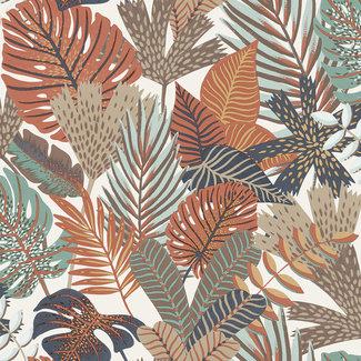 Dutch Wallcoverings Eden bladeren wit/roodbruin/groen - M36908