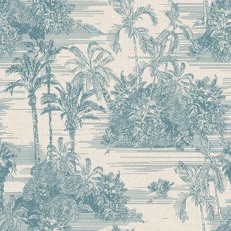 Dutch Wallcoverings Eden tropisch tafereel beige/blauw - M37311