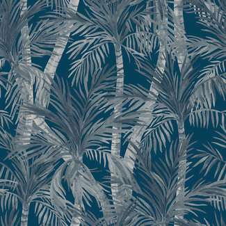 Dutch Wallcoverings Eden palmbomen blauw/grijs - M37901