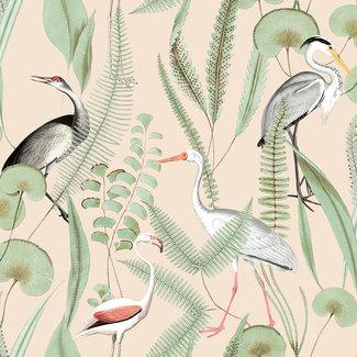 Dutch Wallcoverings Eden flamingo/reiger creme/mint - M37403