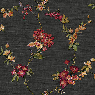 Dutch Wallcoverings Fabric Touch flower black - FT221214