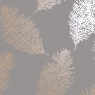 Dutch Wallcoverings Indulgence Feather grey/rose gold - 12629