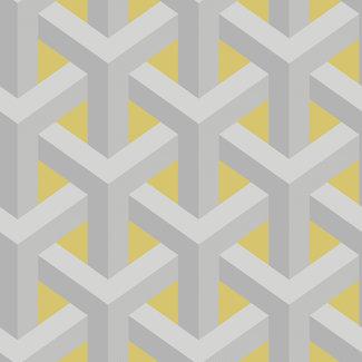 Dutch Wallcoverings Indulgence Trident geo grey/yellow  - 12811
