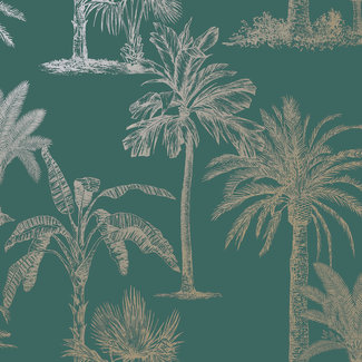 Dutch Wallcoverings Indulgence Tropical trees teal  - 12820