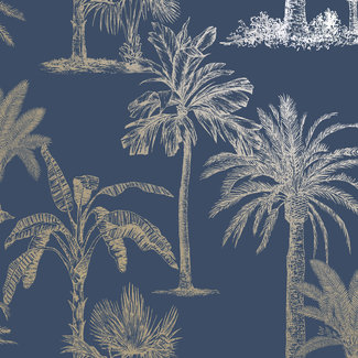 Dutch Wallcoverings Indulgence Tropical trees navy - 12821