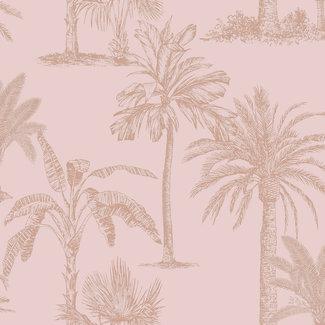 Dutch Wallcoverings Indulgence Tropical trees blush pink  - 12822