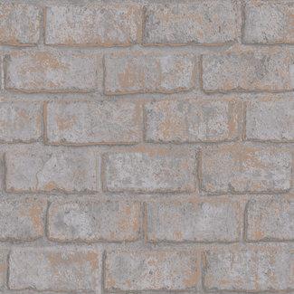 Dutch Wallcoverings Indulgence Metallic brick grey/rose gold - 12951