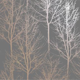 Dutch Wallcoverings Indulgence Rhea trees grey/rose gold - 90761