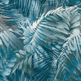 Dutch Wallcoverings Nomad Antigua palm blauw/zwart - 170705