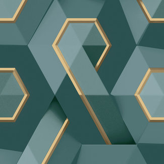 Dutch Wallcoverings Onyx dessin groen/goud - M354-11
