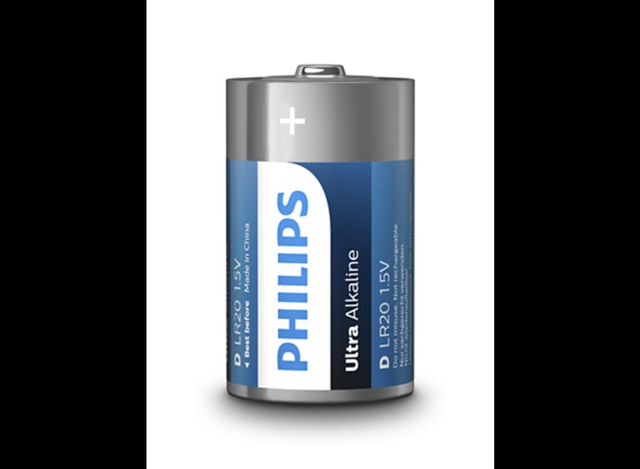 Philips Ultra Alkaline D/LR20 blister 2 batterijen