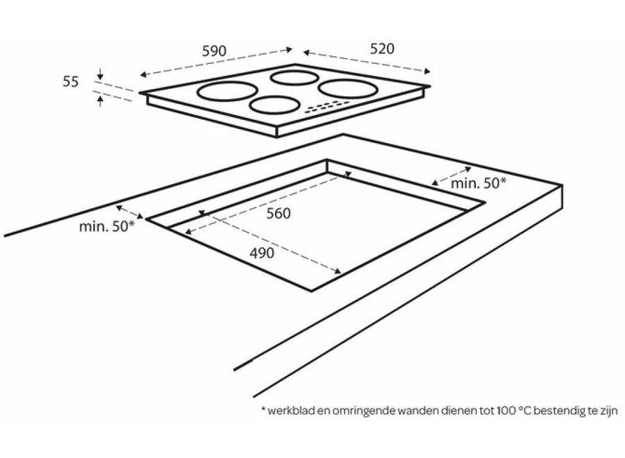 Inventum IKI6031 Inbouw Inductie Kookplaat