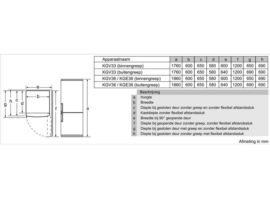 Siemens KG36VELEP Vrijstaande koel-vriescombinatie