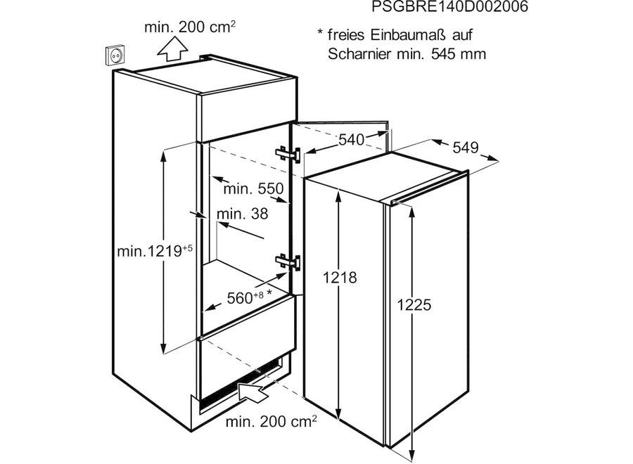 Zanussi ZBA20421SV Inbouw koelkast 122 cm met vriesvak